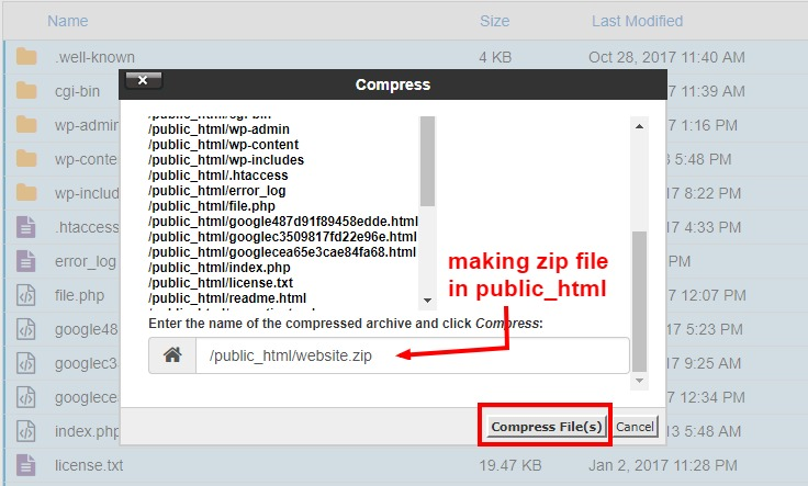 making zip file in cpanel